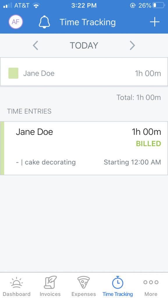 FreshBooks bakery bookkeeping screenshot