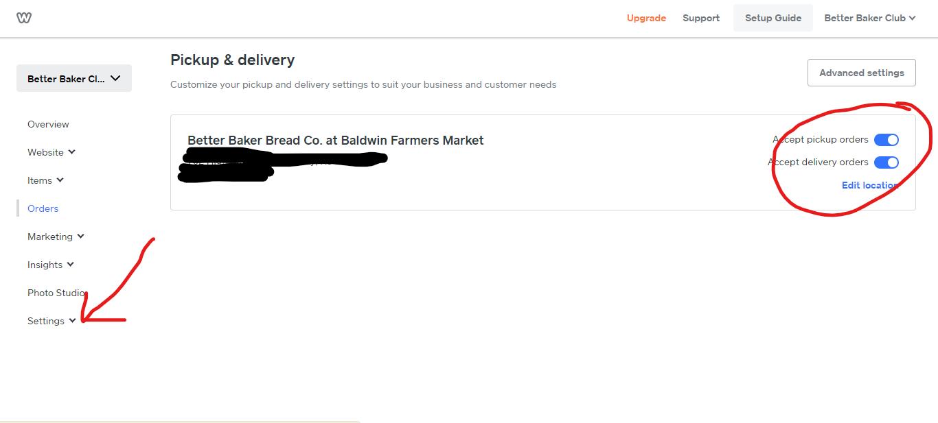 Weebly website for food business